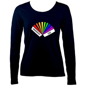 Rainbow Melodeon Ladies Long Sleeve Shirt - Long Sleeved Shirt - Navy - Mudchutney