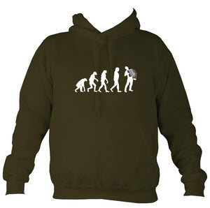Evolution of Accordion Players Hoodie-Hoodie-Olive green-Mudchutney