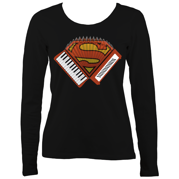 Accordion Superwoman Women's Long Sleeve Shirt