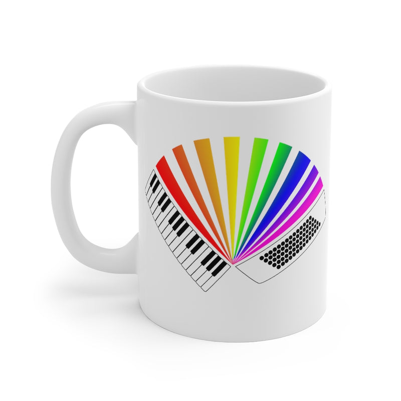 Rainbow Accordion Mug | Colourful Rainbow Piano Accordion Ceramic Mug 11oz
