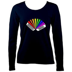 Rainbow Chromatic Accordion Ladies Long Sleeve Shirt - Long Sleeved Shirt - Navy - Mudchutney