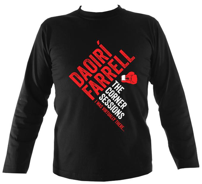 Daoiri Farrell Corner Session Boxing Glove Mens Long Sleeve Shirt - Long Sleeved Shirt - Black - Mudchutney