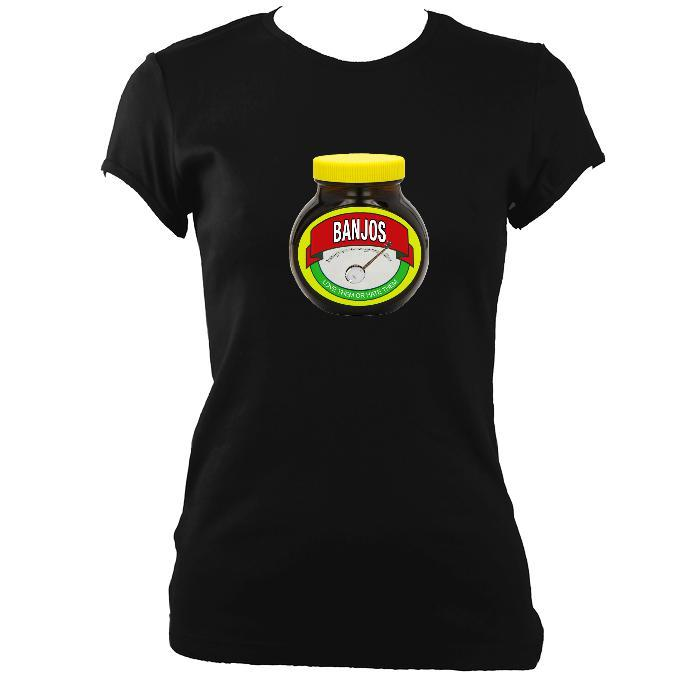 update alt-text with template Banjos - Love or Hate them Ladies Fitted T-shirt - T-shirt - Black - Mudchutney