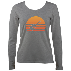 Guitar Sunset Womens Long Sleeve Shirt