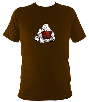 Piano Accordion Playing Buddha T-shirt - T-shirt - Dark Chocolate - Mudchutney