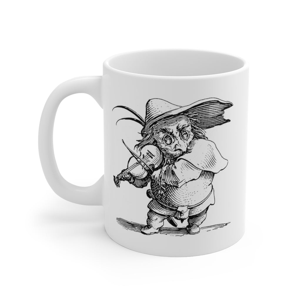 Fiddle Playing Goblin Mug | Fiddle Themed Ceramic Mug | Folk Music Mug - 11oz