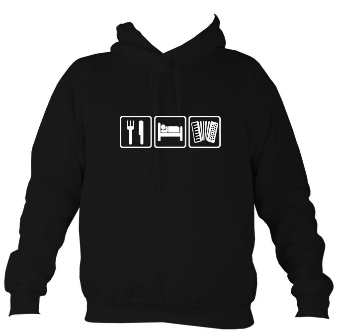 Eat, Sleep, Play Accordion Hoodie-Hoodie-Jet black-Mudchutney