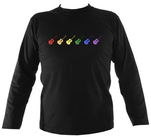 Rainbow of Guitars Mens Long Sleeve Shirt - Long Sleeved Shirt - Black - Mudchutney