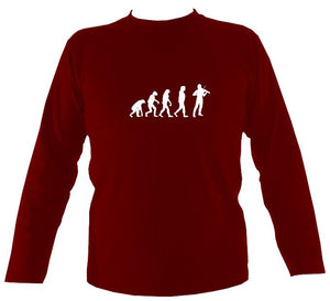 Evolution of Fiddle Players Mens Long Sleeve Shirt - Long Sleeved Shirt - Cardinal red - Mudchutney