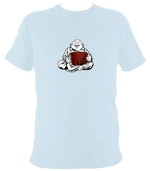 Piano Accordion Playing Buddha T-shirt - T-shirt - Light Blue - Mudchutney
