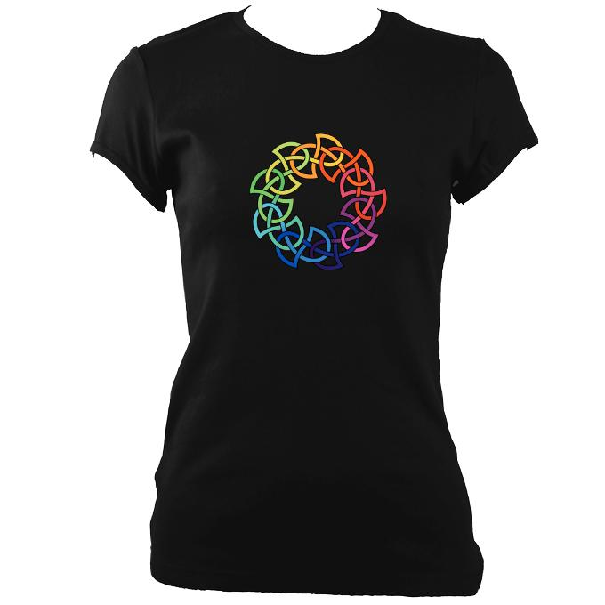 update alt-text with template Rainbow Celtic Knot Ladies Fitted T-shirt - T-shirt - Black - Mudchutney