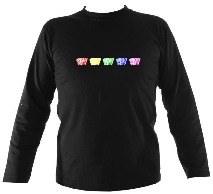 Rainbow Accordions Mens Long Sleeve Shirt - Long Sleeved Shirt - Black - Mudchutney