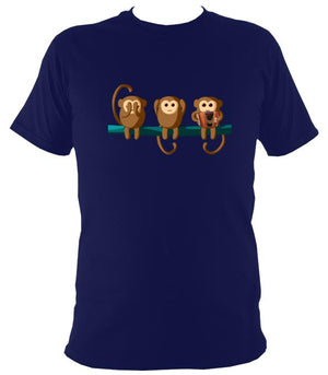 Play No Melodeon Monkeys T-shirt - T-shirt - Navy - Mudchutney