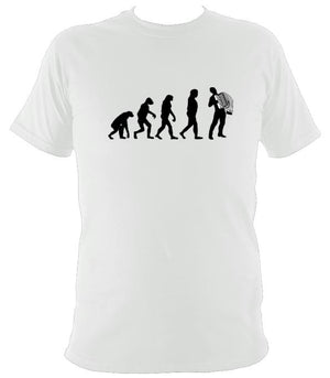 Evolution of Accordion Players T-shirt - T-shirt - White - Mudchutney