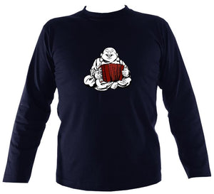 Piano Accordion Playing Buddha Mens Long Sleeve Shirt - Long Sleeved Shirt - Navy - Mudchutney