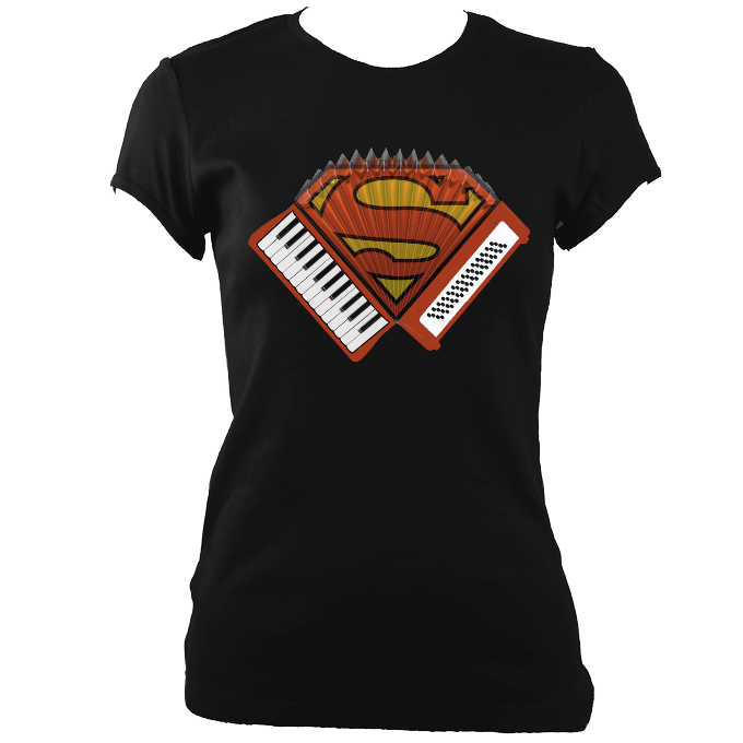 Accordion Superhero Ladies Fitted T-Shirt
