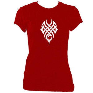 update alt-text with template Woven Tribal Tattoo Ladies Fitted T-shirt - T-shirt - Antique Cherry Red - Mudchutney
