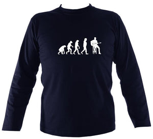 Evolution of Guitar Players mens long sleeve shirt - Navy blue