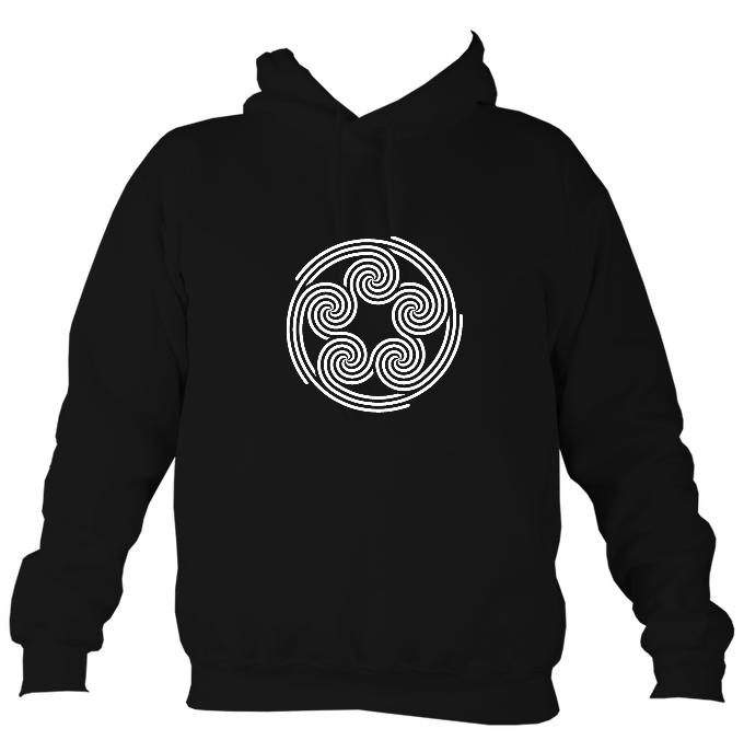 Celtic Five Spirals Hoodie-Hoodie-Denim-Mudchutney