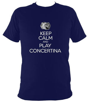 Keep Calm & Play English Concertina T-shirt - T-shirt - Navy - Mudchutney
