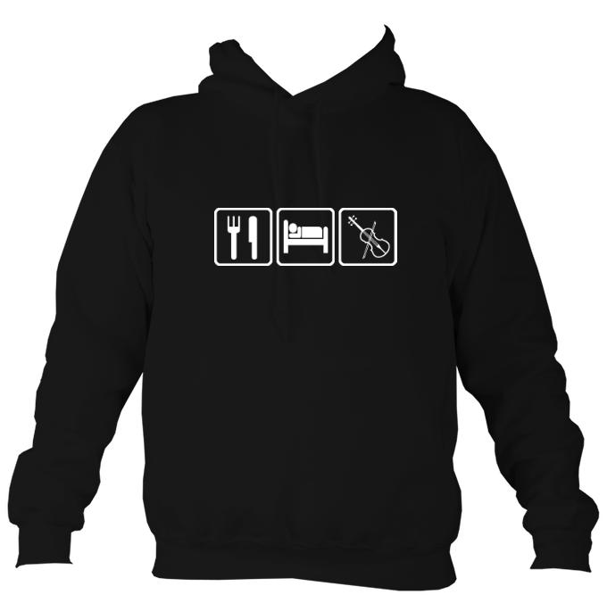 Eat, Sleep, Play Fiddle Hoodie-Hoodie-Jet black-Mudchutney
