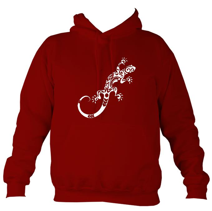 Tribal Gecko hoodie in red hot chilli colour