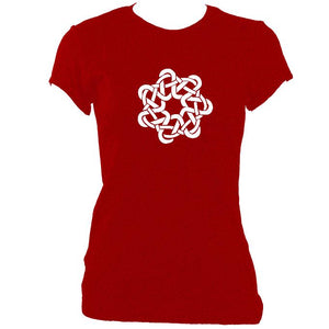update alt-text with template Celtic Woven Knot Ladies Fitted T-Shirt - T-shirt - Antique Cherry Red - Mudchutney