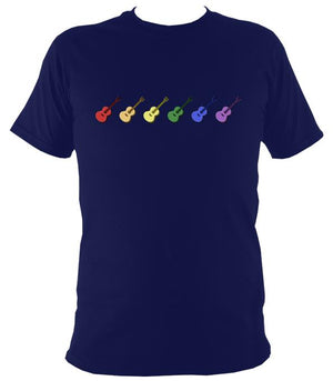Rainbow of Coloured Guitars T-Shirt - T-shirt - Navy - Mudchutney