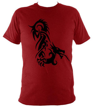 Tribal Dragon T-shirt - T-shirt - Antique Cherry Red - Mudchutney