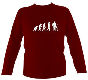 Evolution of Guitar Players Mens Long Sleeve Shirt - Long Sleeved Shirt - Cardinal red - Mudchutney