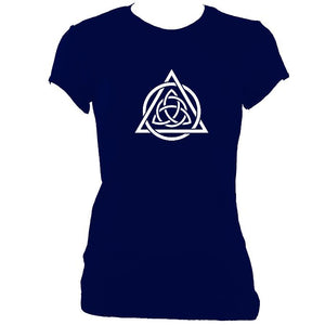 update alt-text with template Celtic Triqueta Ladies Fitted T-shirt - T-shirt - Navy - Mudchutney