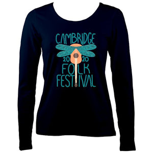 Cambridge Folk Festival - Design 1 - Women's Long Sleeve Shirt - Long Sleeved Shirt - Navy - Mudchutney
