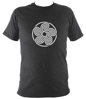 Swirling Celtic Five Spiral T-shirt - T-shirt - Dark Heather - Mudchutney