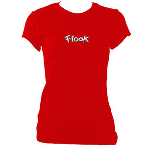 update alt-text with template Flook Ladies Fitted T-shirt - T-shirt - Red - Mudchutney