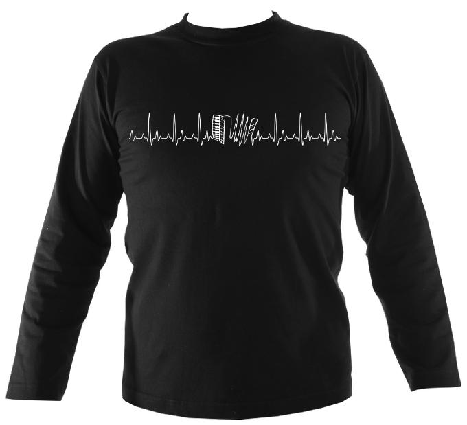 Heartbeat Accordion Mens Long Sleeve Shirt - Long Sleeved Shirt - Black - Mudchutney
