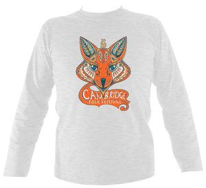 Cambridge Folk Festival - Design 7 - Mens Long Sleeve Shirt - Long Sleeved Shirt - Ash - Mudchutney