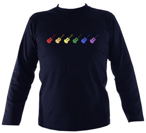 Rainbow of Guitars Mens Long Sleeve Shirt - Long Sleeved Shirt - Navy - Mudchutney