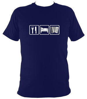 Eat, Sleep, Play Accordion T-shirt - T-shirt - Navy - Mudchutney