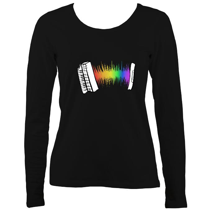 Rainbow Sound Wave Accordion Ladies Long Sleeve Shirt - Long Sleeved Shirt - Black - Mudchutney