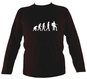 Evolution of Guitar Players Mens Long Sleeve Shirt - Long Sleeved Shirt - Dark chocolate - Mudchutney