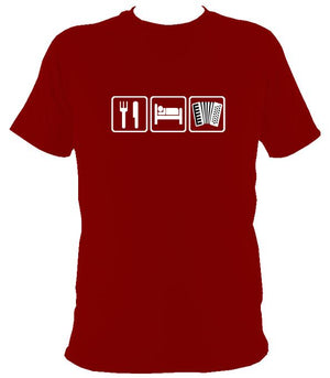 Eat, Sleep, Play Accordion T-shirt - T-shirt - Cardinal Red - Mudchutney