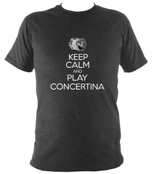 Keep Calm & Play English Concertina T-shirt - T-shirt - Dark Heather - Mudchutney