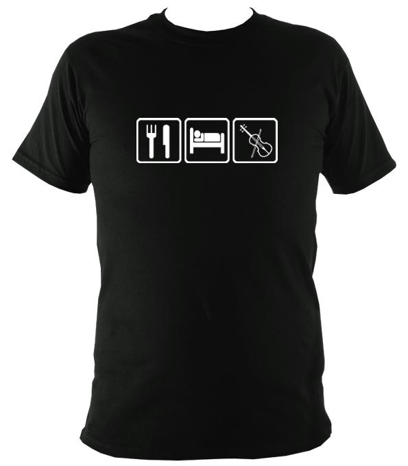Eat, Sleep, Play Fiddle T-shirt - T-shirt - Black - Mudchutney