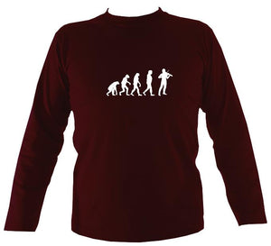 Evolution of Fiddle Players Mens Long Sleeve Shirt - Long Sleeved Shirt - Maroon - Mudchutney