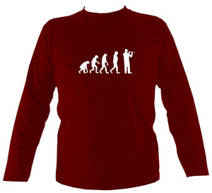Evolution of Flute Players Mens Long Sleeve Shirt - Long Sleeved Shirt - Cardinal red - Mudchutney