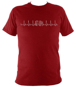 Heartbeat Accordion T-shirt - T-shirt - Antique Cherry Red - Mudchutney