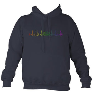Heartbeat Concertina in Rainbow Colours Hoodie-Hoodie-Denim-Mudchutney