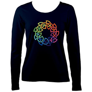 Rainbow Celtic Knot Ladies Long Sleeve Shirt