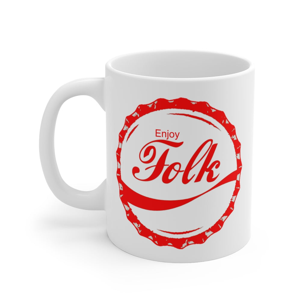 "Enjoy Folk Mug | Folk Music Fans ceramic mug | round red logo with ornate ""enjoy folk"" image"