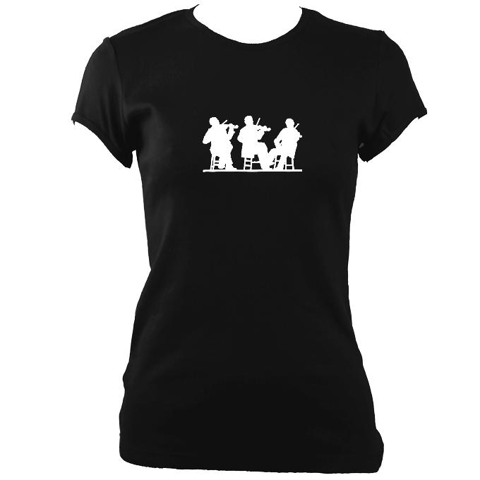 Three Fiddlers Ladies Fitted T-shirt